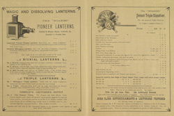 Advert for D Noakes & Son, magic lanterns, reverse side